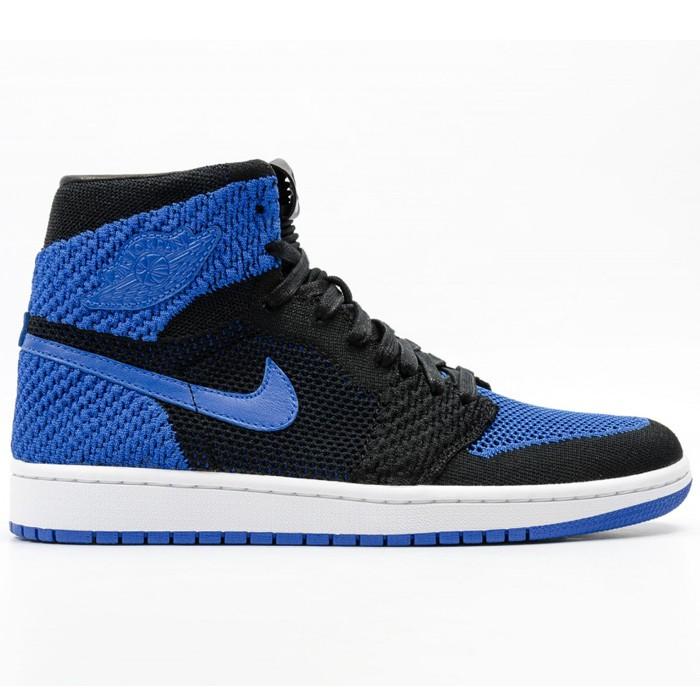 Chaussures Air Jordan 1 Retro High Flyknit Noir/Bleu Royal (Taille au choix)