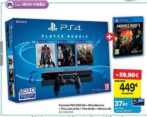 Console Sony Playstation PS4 500 Go + Bloodborne + Last Of Us + The Order 1886 + Minecraft