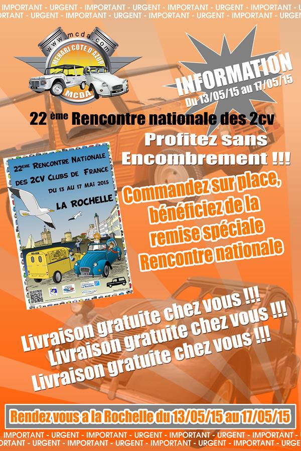Livraison gratuite pour toutes commande à la 22e Rencontre Nationale des 2cv clubs de France