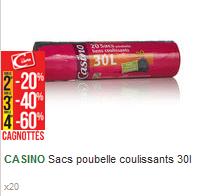 Lot de 4 Sachets de Sacs Poubelle avec Liens Coulissants - 80 x 30L (Via 7,62€ sur la Carte de Fidélité)