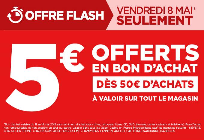 5€ offerts en bon d'achat dès 50€ d'achat