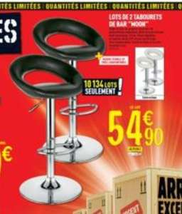 Lot 2 tabourets de bar - Noir ou blanc