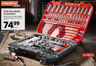 Set de clés à douille et accessoires Powerfix - 216 pièces