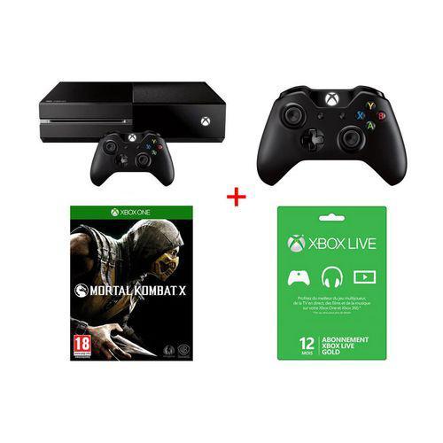 Pack Xbox One + Mortal Kombat X + Manette Sans fil Noire + Abonnement Xbox Live Gold 12 mois (+ 4x25€ de bons d'achats)