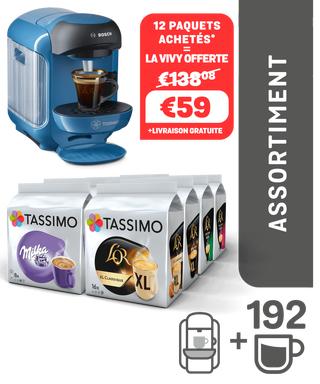 Assortiment de 12 Paquets de Capsules (Variétés Mixtes) + Machine à Café Tassimo Vivy Bleue