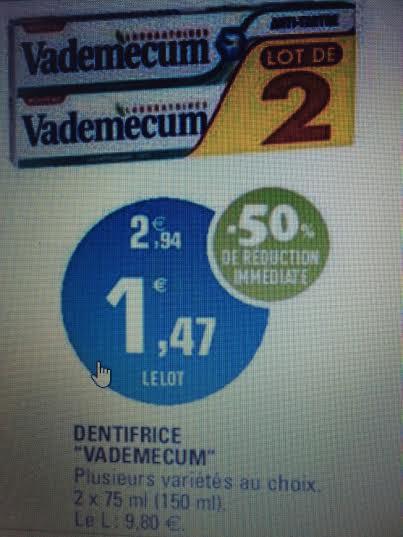 Lot de 2 dentifrices Vademecum (via bon de réduction)