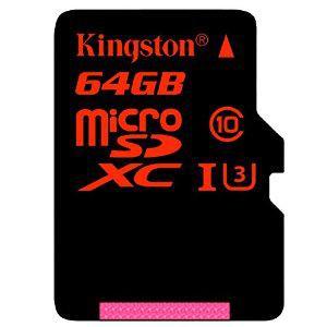 Carte microSDXC Kingston 64 Go U3 Classe 10 avec adaptateur (jusqu'à 90 Mo/s)