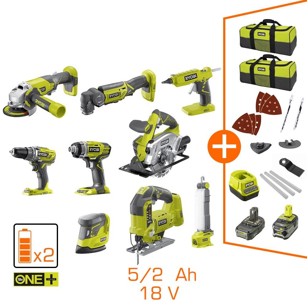 Pack de 9 machines Ryobi - 2 Batteries Li-Ion 5Ah + 2Ah - 2 Sacs de transport + Chargeur