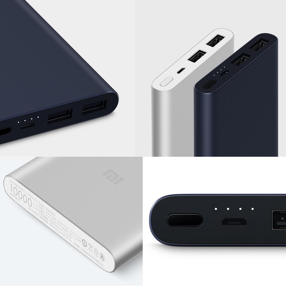 Batterie externe Xiaomi Power Bank 2 (Nouvelle version 2018) - 10000 mAh, Quick Charge In/Out, 2 Ports USB (Noir ou Argent)
