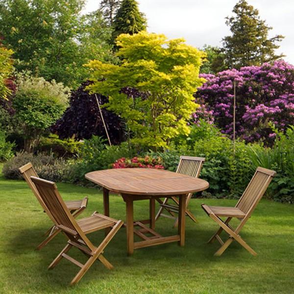 Ensemble de jardin Jakarta en Teck - Table ovale extensible (120/170 cm) + 4 Chaises pliables
