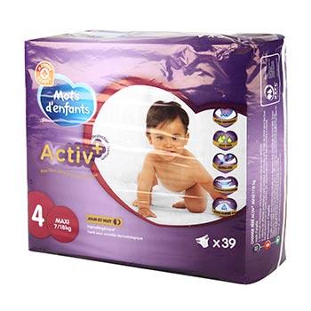 Lot de 3 Packs de Couches Mots d'enfants Mots d'Enfants Activ+ T4 (7/18kg) - 3x39