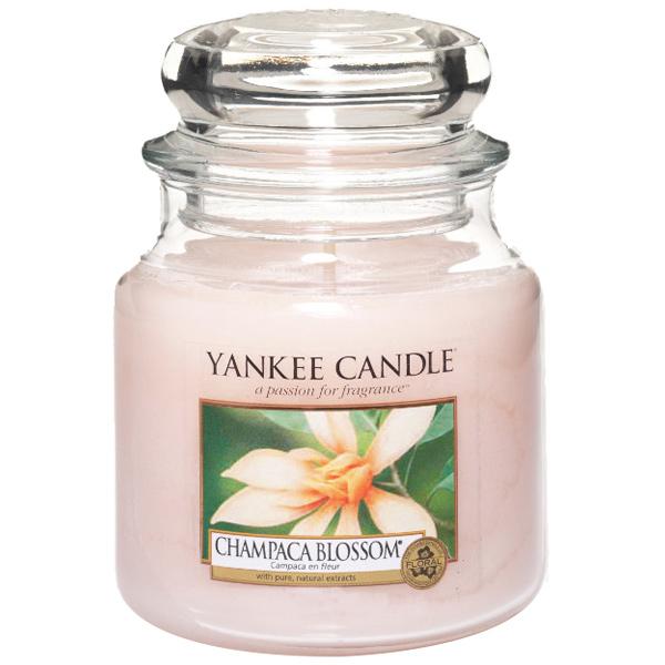 Sélection de bougies Yankee Candle en promotion - Ex : Bougie Champaca Blossom - Modèle moyen - 411 g