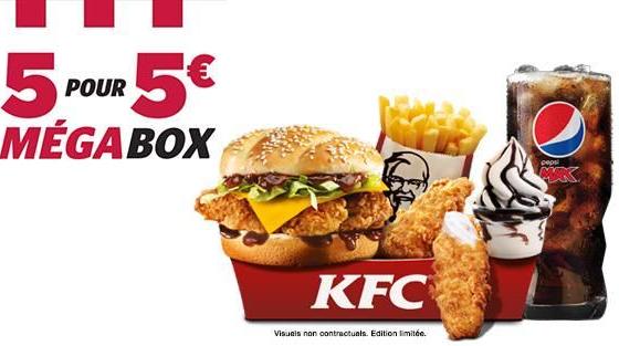 Menu Megabox : Double Krunch BBQ ou Fish + Moyenne frite +moyenne boisson+ 2 Tenders ou 3 Hot + 1 petit Sunday ou Cookie