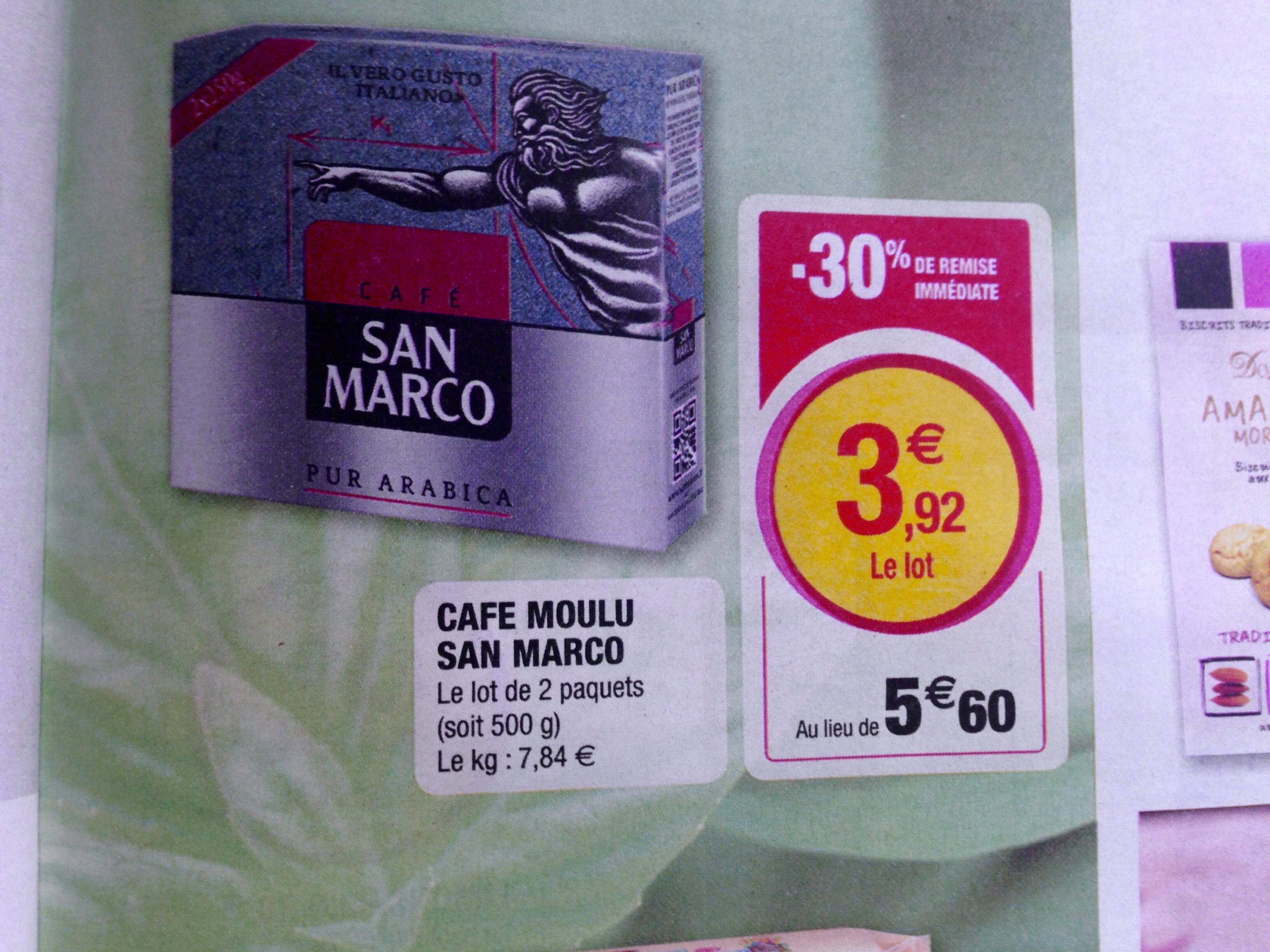 Lot de 2 paquets de café moulu San Marco - 2 x 250g