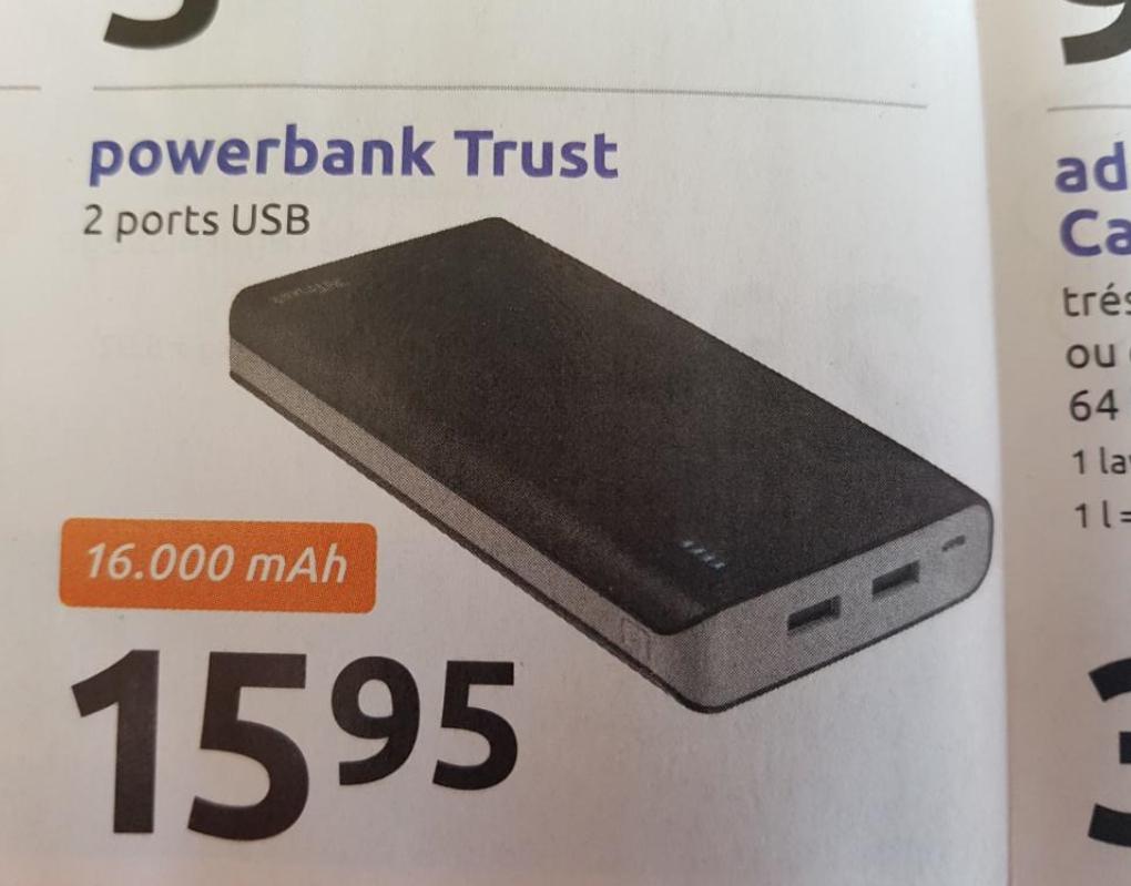 Batterie externe Trust - 16000 mAh, 2 Port USB