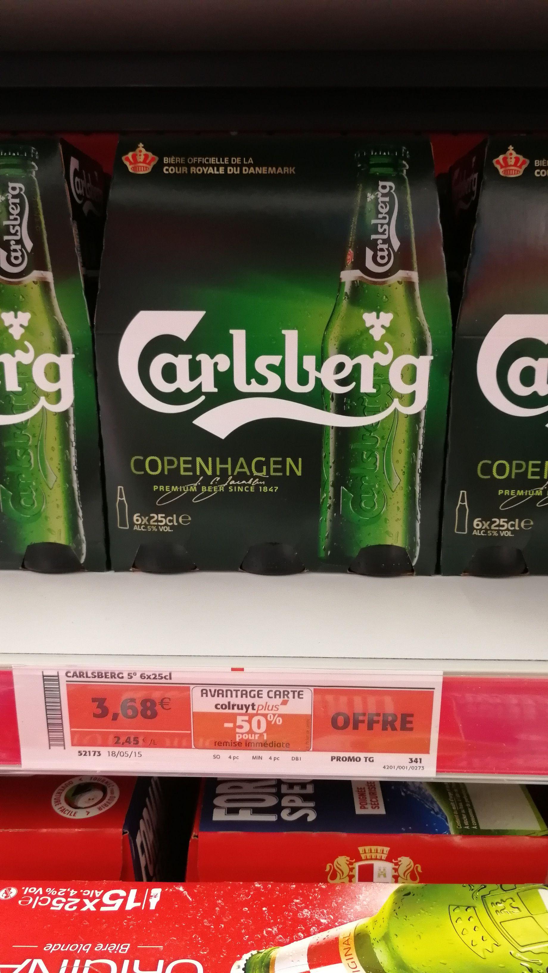 Pack de 6 bières blondes Carlsberg - 25 cl