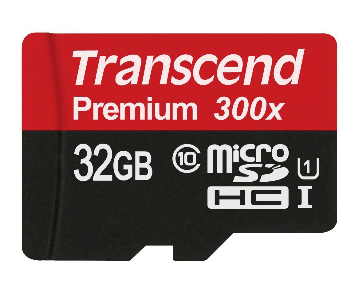 Carte mémoire microSDHC  Transcend 32 Go Classe 10 UHS-I 300x avec adaptateur TS32GUSDU1E
