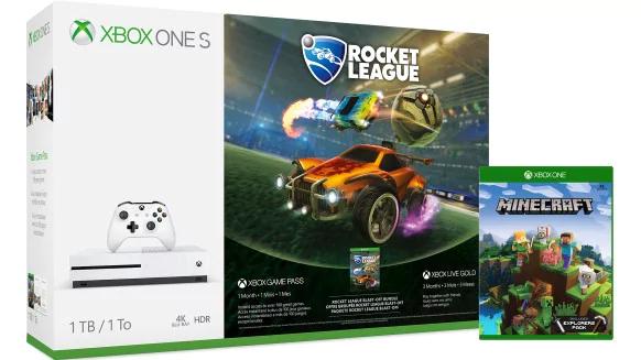 [Microsoft Rewards] Pack Console Xbox One S (Blanc) - 1 To + Minecraft Explorers + Rocket League