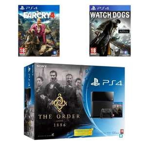 Pack Console Sony PS4 avec 3 jeux (The Order + Watch dogs + Far Cry 4)