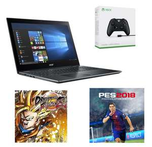 """PC Portable 15.6"""" Acer Spin 5 SP515-51GN-54GU (Full HD, i5-8250U, HDD 1 To + SSD 256 Go, RAM 8 Go, GTX 1050 4 Go) + Manette Xbox One + PES 2018 + Dragon Ball FighterZ"""