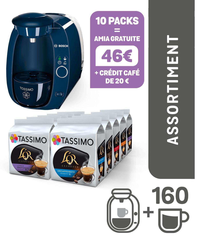 Machine à Café Tassimo Bosch T20 Amia (Coloris au choix) + 10 Paquets de Capsules Tdisc