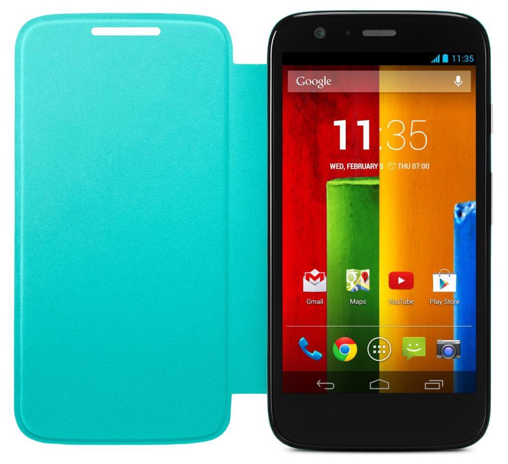 Coque Motorola Flip Shell pour smartphone Moto G 1ère génération (Turquoise)