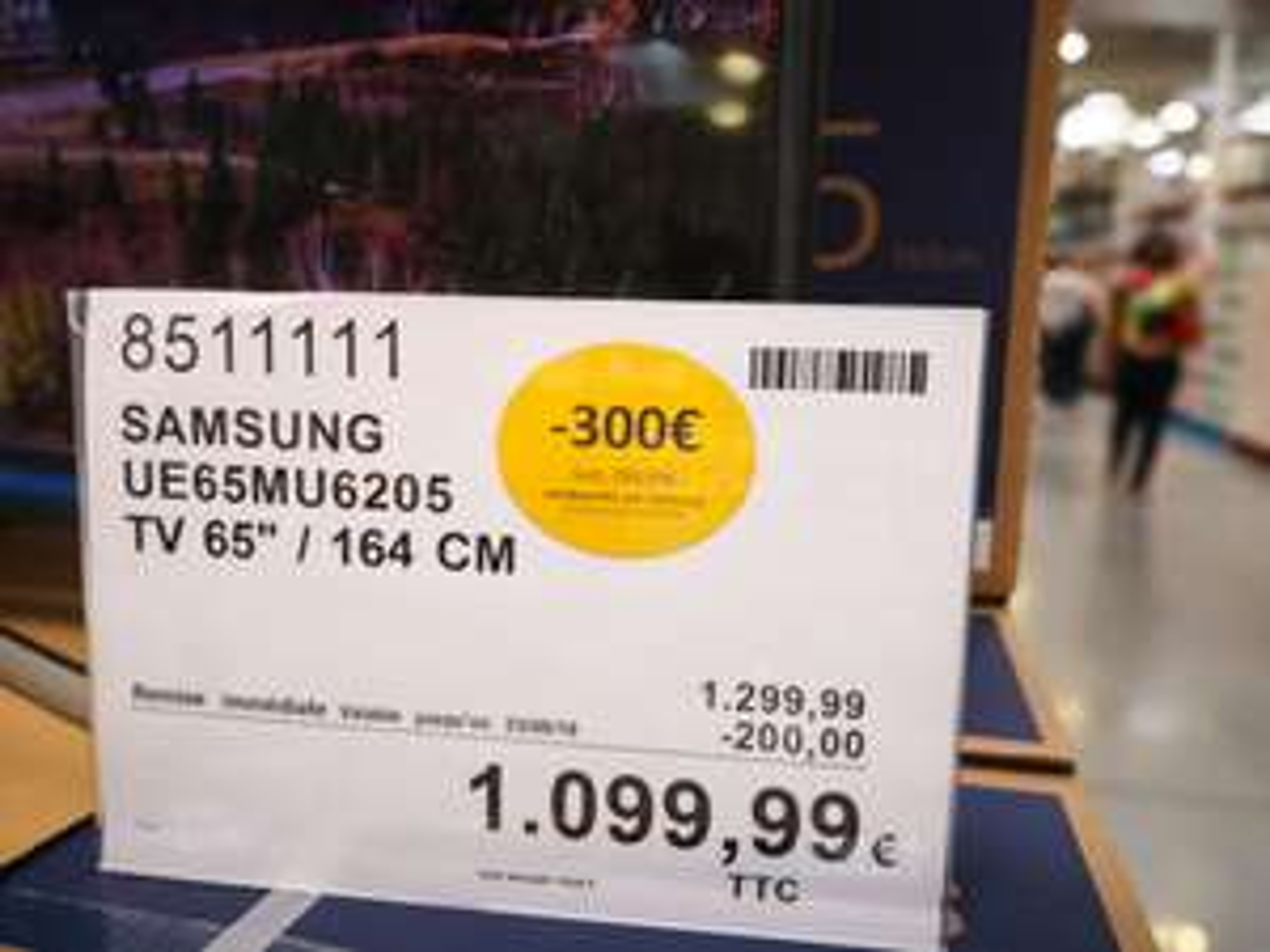 """[Carte CostCo] TV 65"""" Samsung 65MU6272 - UHD - HDR - Incurvée - Smart TV- Dalle VA (Via 300€ ODR) - Costco Villebon-sur-Yvette (91)"""