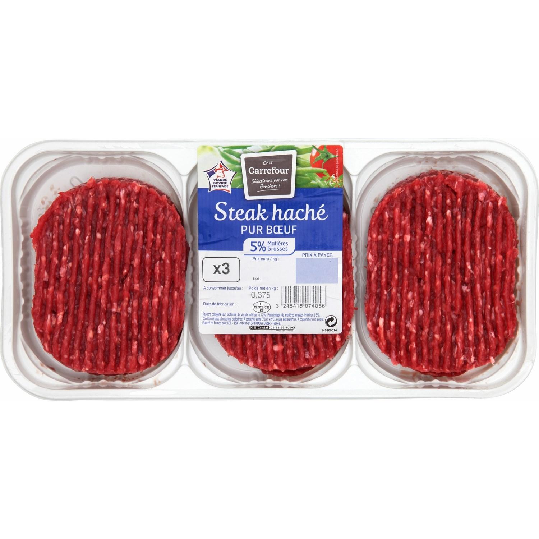 3 Steaks hachés pur bœuf 5% MG Carrefour Drive (375g) - aulnoy lez valenciennes (59)