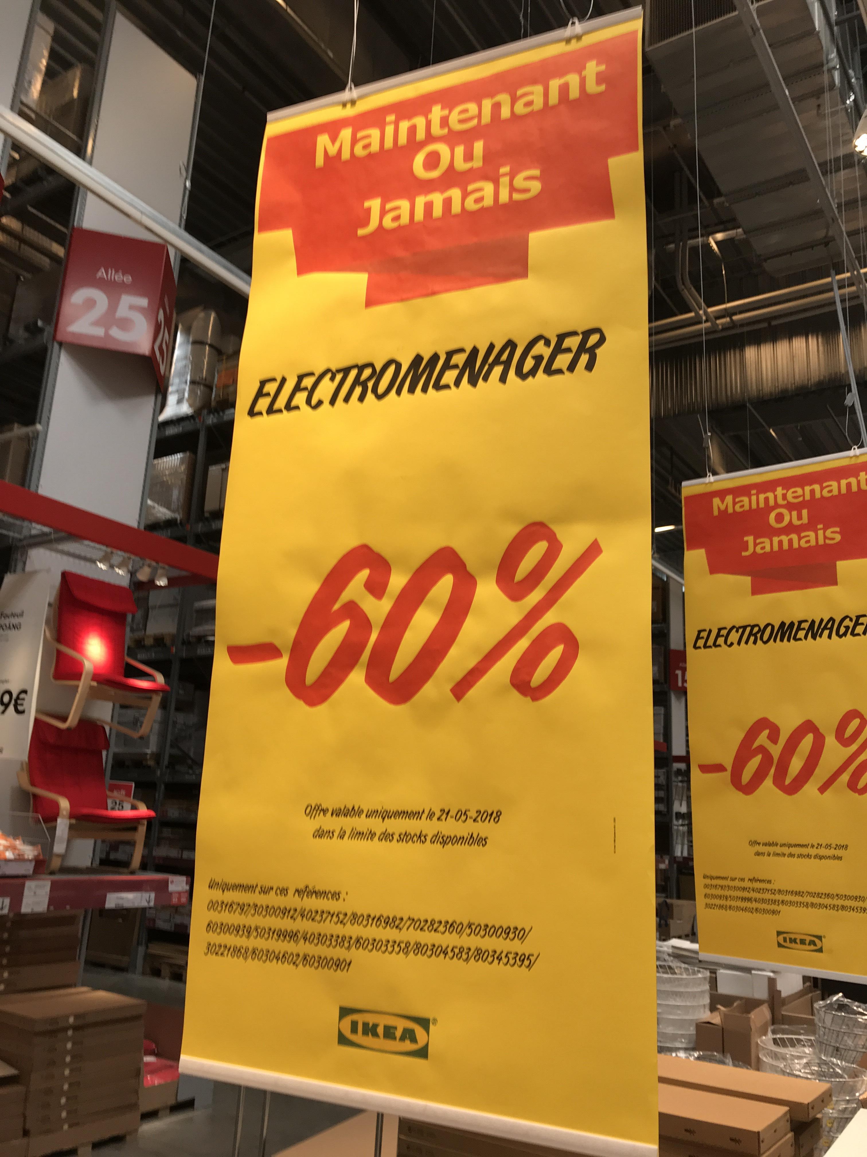 Jusqu'à 60% de réduction sur une sélection d'articles Electroménager - Ex: Hotte aspirante Omnejd - Hénin-Beaumont (62)