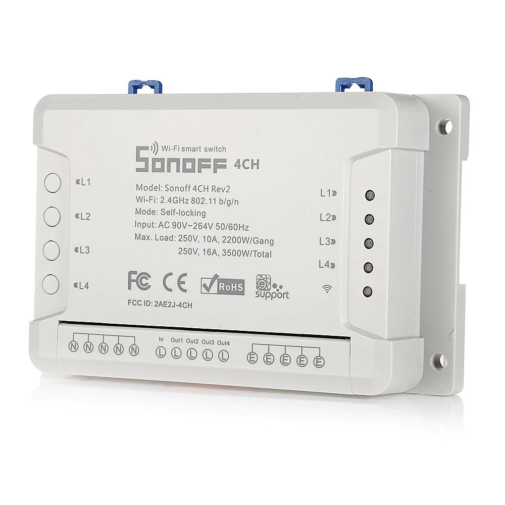 Interrupteur sans-fil connecté SONOFF 4CH Rev2 R2 - WiFi (Blanc)