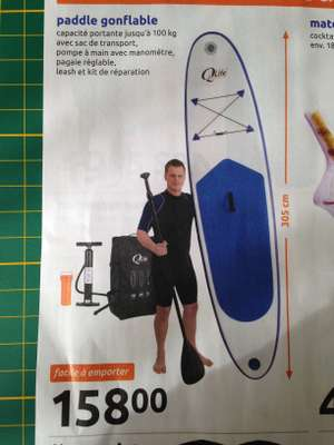 Stand up paddle gonflable Q4Life (305 cm) + leash + kit de réparation