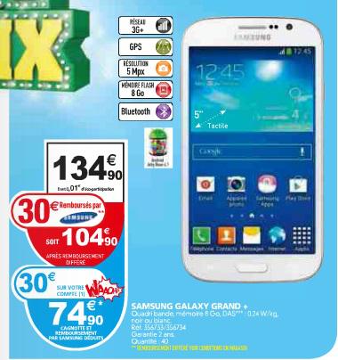 Smartphone Samsung Galaxy Grand Plus 8 Go Blanc (ODR de 30€ + 30€ sur Carte fidélité )