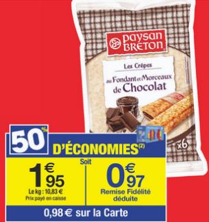 6 crêpes Paysan Breton - Fraise ou chocolat (avec 0.98€ sur la carte)