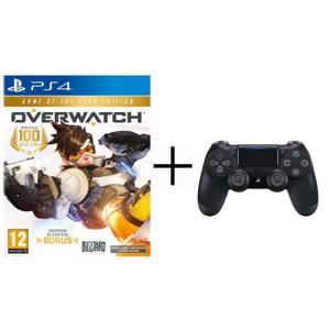 Pack manette Sony DualShock 4 (V2, noir) + Overwatch - Édition GOTY sur PS4