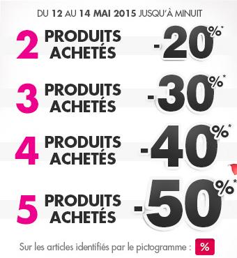 20% de réduction pour 2 articles achetés, 30% pour 3 articles, 40% pour 4 articles, 50% pour 5 articles