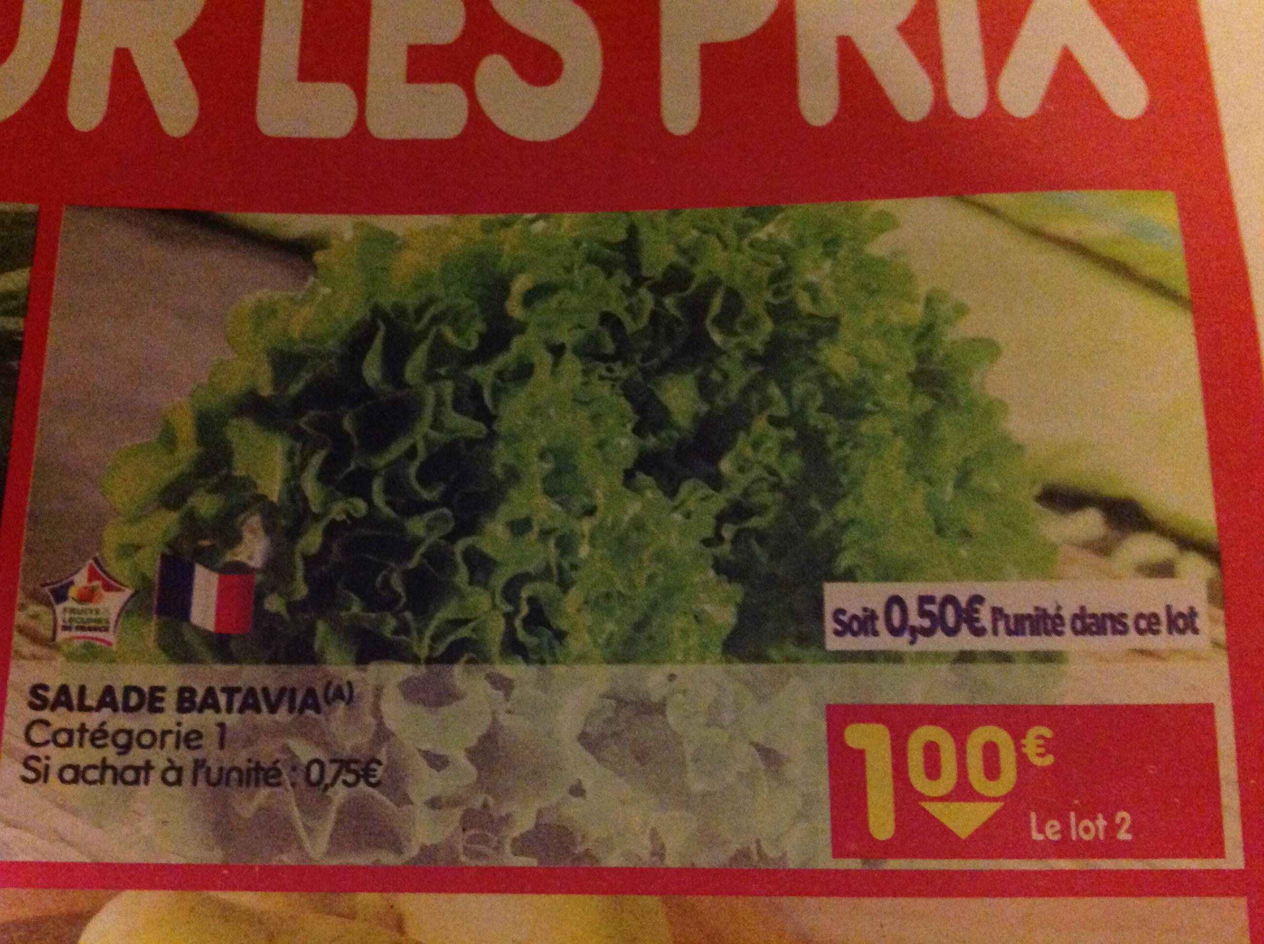 Sélection de Fruits et Légumes en Promotion - Ex: Lot de 2 Salades Batavias Catégorie 1