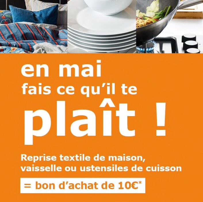 [Ikea Family] Sélection d'offres promotionnelles pour la reprise de produits - Ex : 10€ offerts en bon d'achat pour le rapport de 5 pièces de vaisselles (hors couverts et verres) - Saint-Herblain (44)