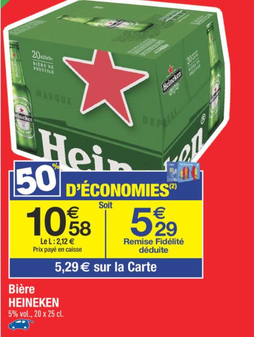 Pack de bière Heineken 20 x 25cl (avec 5.29€ sur la carte)