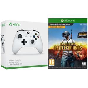 Manette Microsoft Xbox One S sans fil blanche + PUBG sur Xbox One (version boîte)