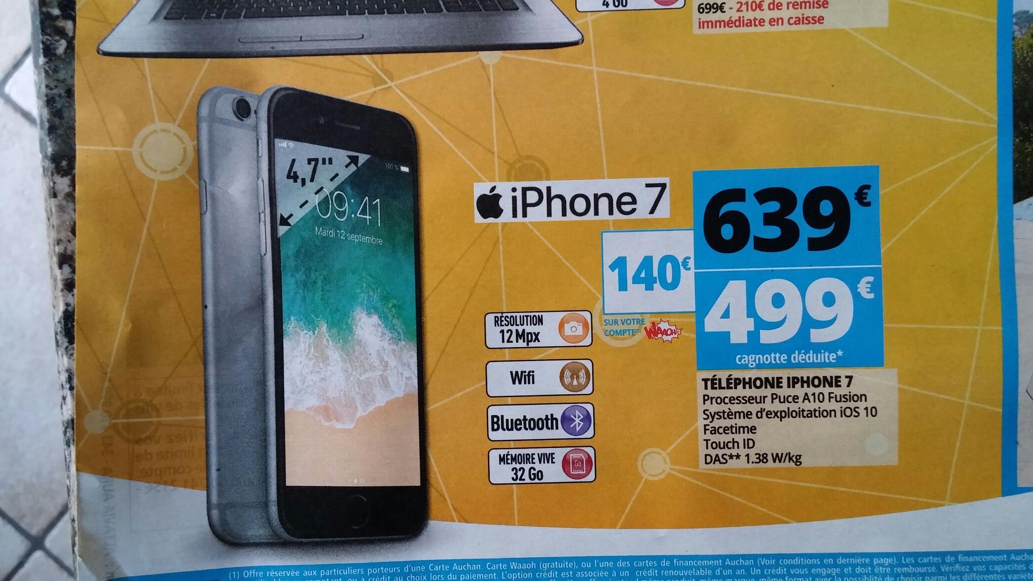 "Smartphone 4.7"" Apple iPhone 7 32 Go ( via 140€ sur la carte Waaoh ) - Mâcon (71)"
