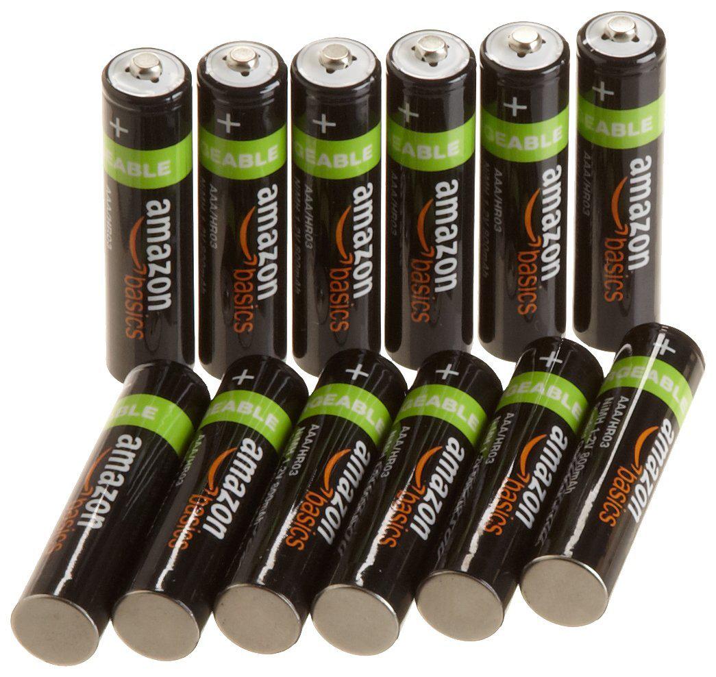Pack de 12 piles rechargeables AAA AmazonBasics 800 mAh