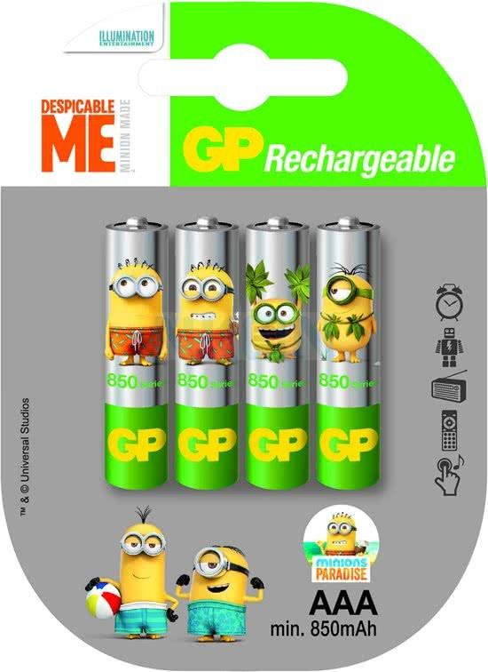 Lot de 4 piles rechargeables AAA Ni-MH ReCyko Minion - 800mAh (Nkon.nl)