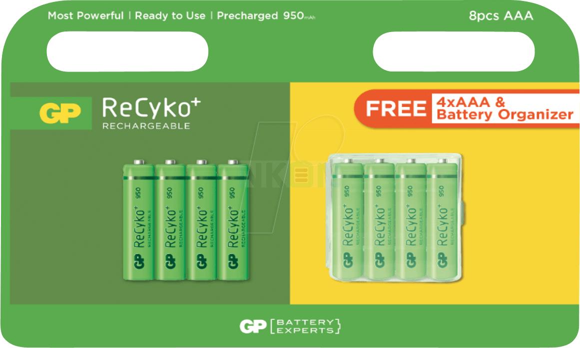 Lot de 8 piles rechargeables GPRecyko AAA (NKON)