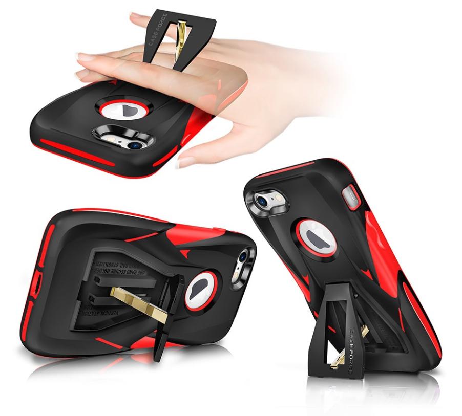 Coque haute résistance CaseForce pour iPhone 7 et 8 avec support intégré et film de protection d'écran (Plusieurs coloris)