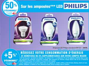 Ampoule LED Philips 60W E27 (50% + 5% de réduction sur la carte Auchan)