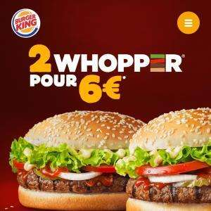 2 Whoppers pour 6€ (hors suppléments)