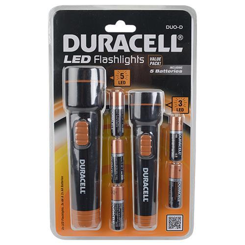 set de 2 lampes de poche Duracell LED + 5 piles