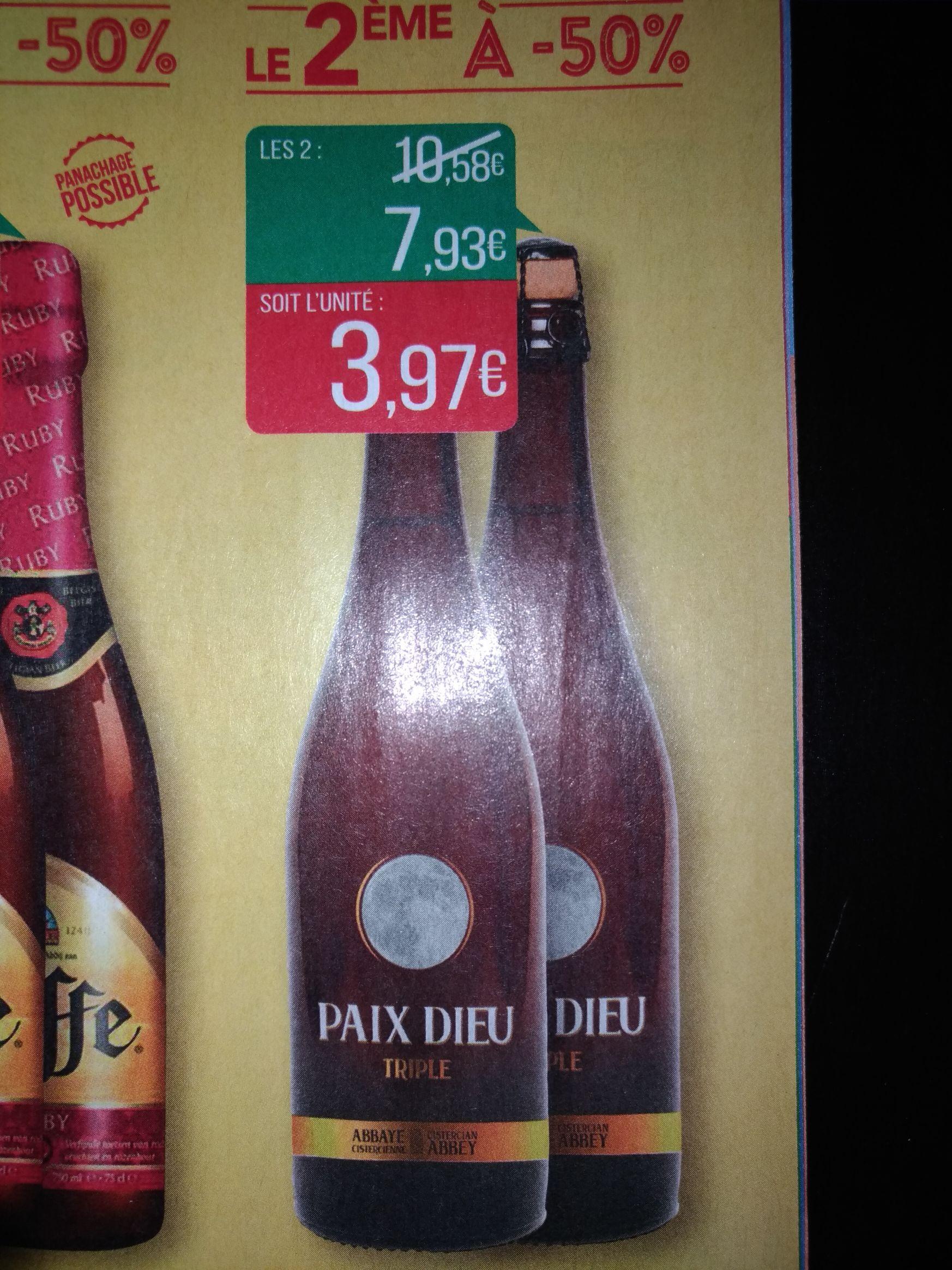 Lot de 2 bouteilles de bière d'abbaye Paix Dieu Triple