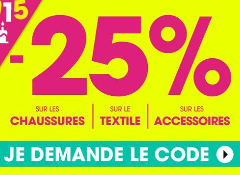 25% de remise sur le textile, les chaussures et les accessoires