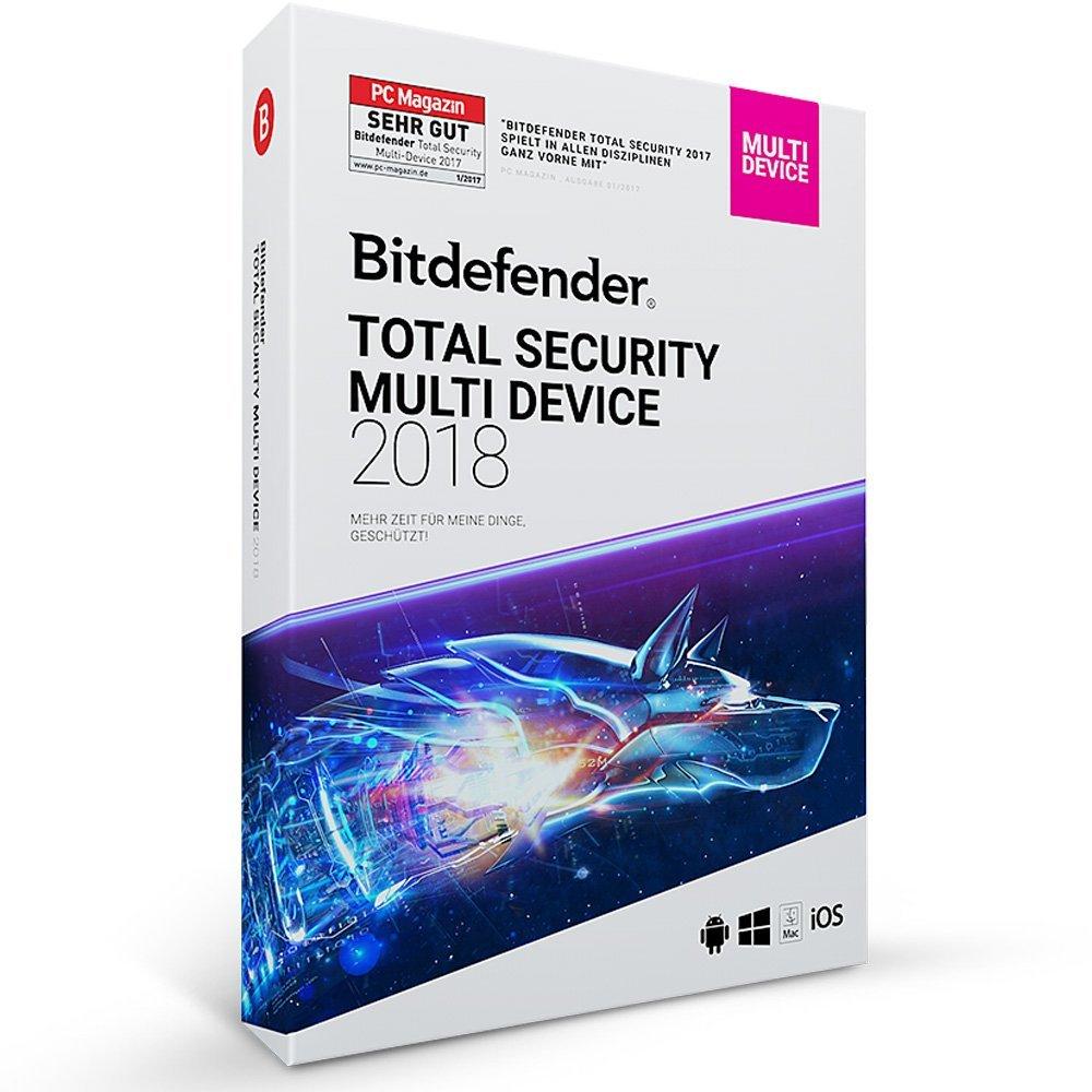 Bitdefender Total Security 2018 - Jusqu'à 5 appareils Windows, Mac OS, iOS and Android (Dématerialisé)